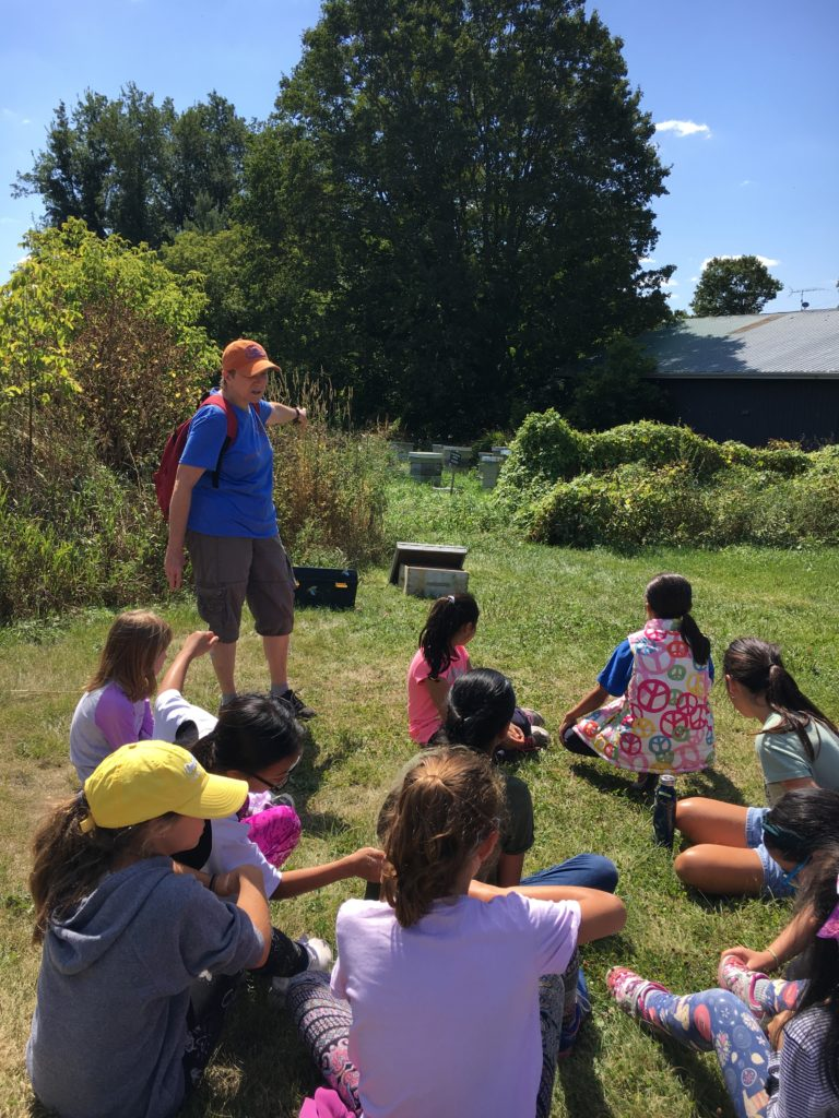 Getting Ready to Check out the Beehives at the Forsythe Family Farms during the Lower School Camp Day.